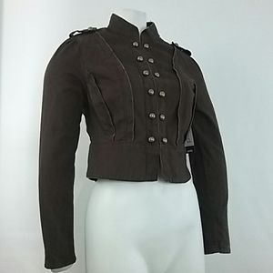 Mixit Brown Jacket Brass Buttons Military Look